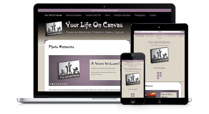 Your Life On Canvas Photography Website Mockup