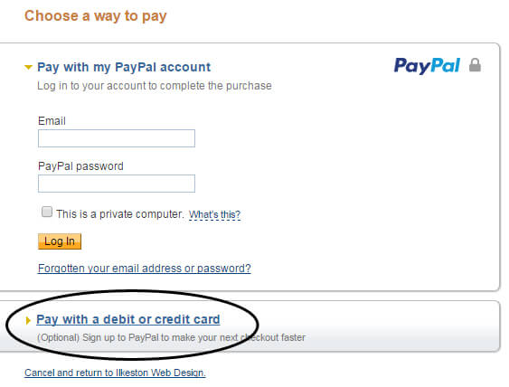 No PayPal account needed to use your card