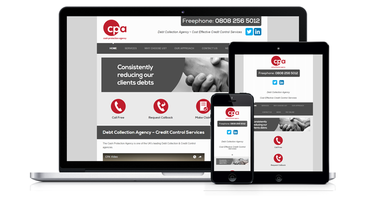 """Cash Protection Agency"" – Mobile Responsive Website, Leicester"