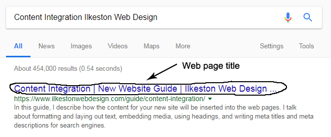Meta title for web page