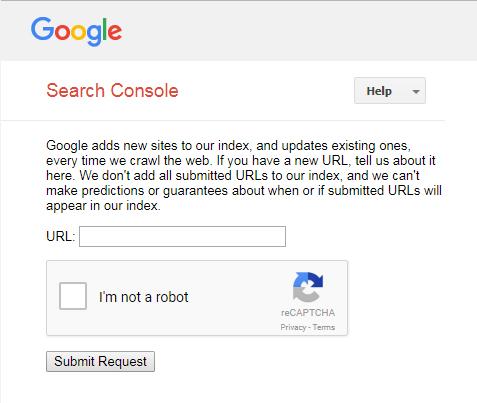 Submit website URL to Google index