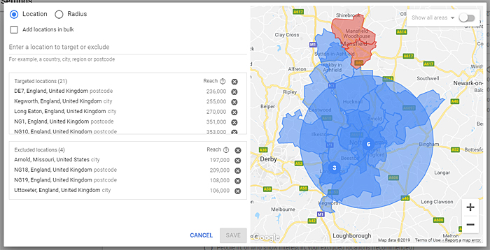 Google Ads Nottingham location targeting