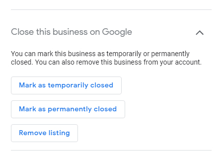Mark as temporarily closed