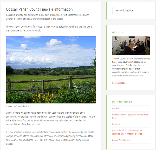 Homepage info and sidebar