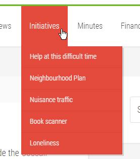 WordPress website menu with submenu