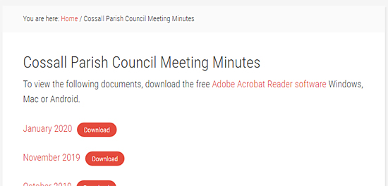 Cossall Parish Council Meeting minutes PDFs