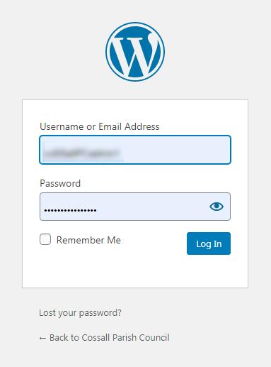 WordPress login area